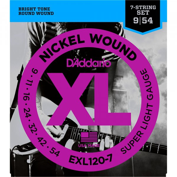 D'Addario EXL120-7 Nickel Wound Electric Strings - .009-.054 7-string Super Light
