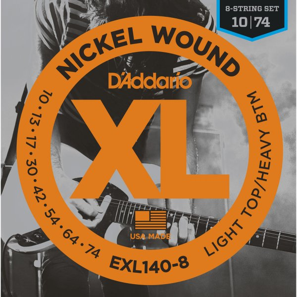 D'Addario EXL140-8 Nickel Wound Electric Strings - .010-.074 8-string Light Top/Heavy Bottom