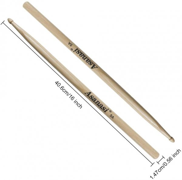 Asanasi 5A Drum Sticks American Hickory Wood Drumsticks
