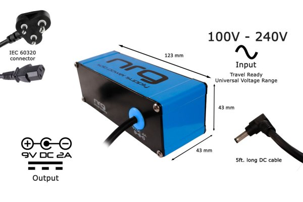 NRG Solo Power Supply – 9volts, 2amp, Center -ve Neon Blue