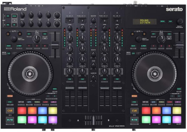 Roland DJ-707M 4-deck Serato DJ Pro Controller with Drum Machine and Vocal Transformer