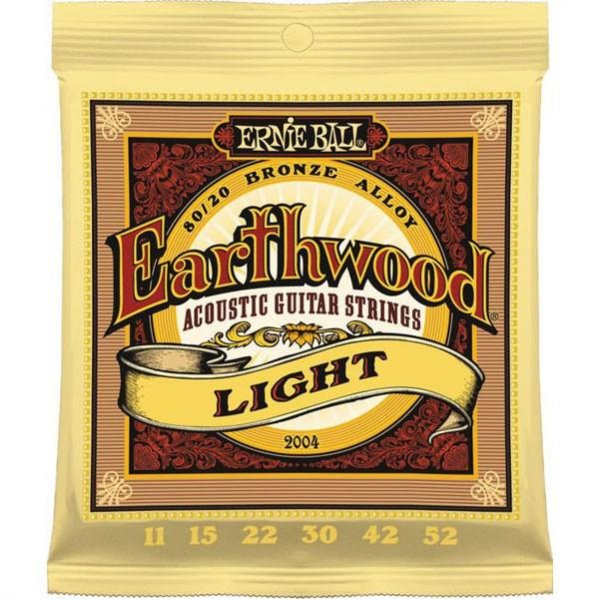 Ernie Ball 2004 Earthwood Acoustic Guitar Strings, 80/20 Bronze Light