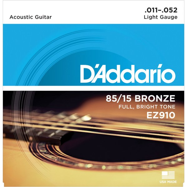 Daddario EZ910 85/15 Bronze Full, Bright Tone Acoustic Guitar Strings .011-.052