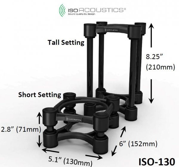 IsoAcoustics ISO-130 Isolation Stands for Studio Monitors - Pair