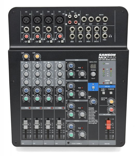 MixPad® MXP124FX - Compact, 12-Input Analog Stereo Mixer with Effects and USB