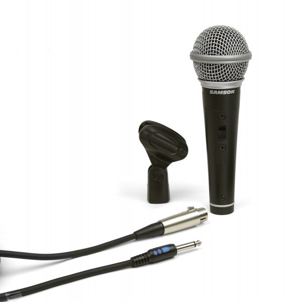 "Samson R21S Dynamic Microphone with XLR to 1/4"" Mic Cable and Mic Clip"