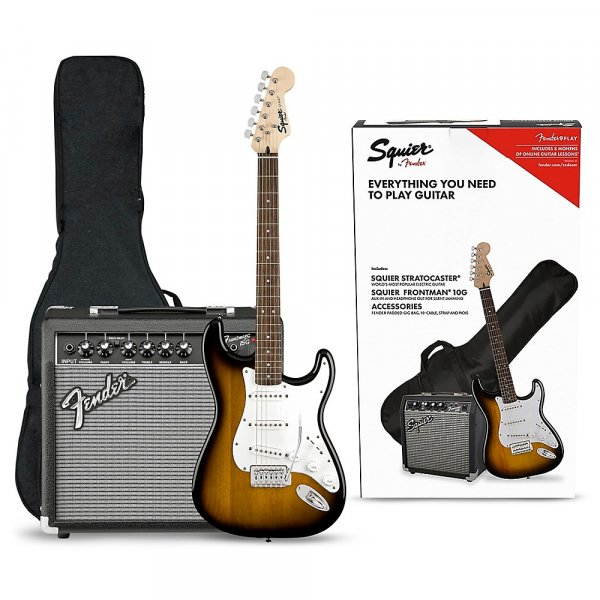 Fender Squier Stratocaster Electric Guitar Pack with Fender Frontman 10G Amp -Brown Sunburst